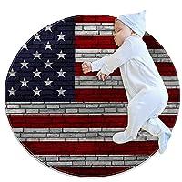 ソフトラウンドエリアラグ 80x80cm/31.5x31.5IN 滑り止めフロアサークルマット吸収性メモリースポンジスタンディングマット,アメリカの国旗