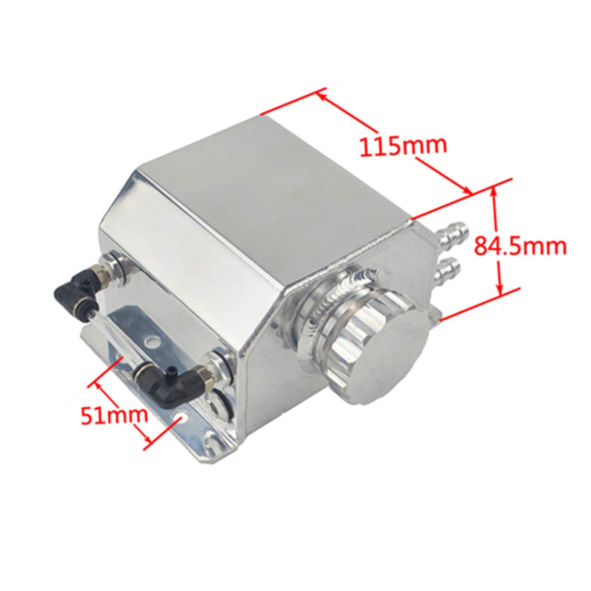 Soosee JDM Universal 2L Coolant Radiator Overflow Recovery Water Tank Reservoir Bottle Polished Aluminum Silver