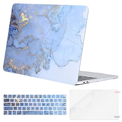 MOSISO MacBook Pro 15 inch Case 2019 2018 2017 2016 Release A1990 A1707, Plastic Watercolor Marble Hard Shell & Keyboard Cover & Screen Protector Compatible with MacBook Pro 15 Touch Bar, Blue