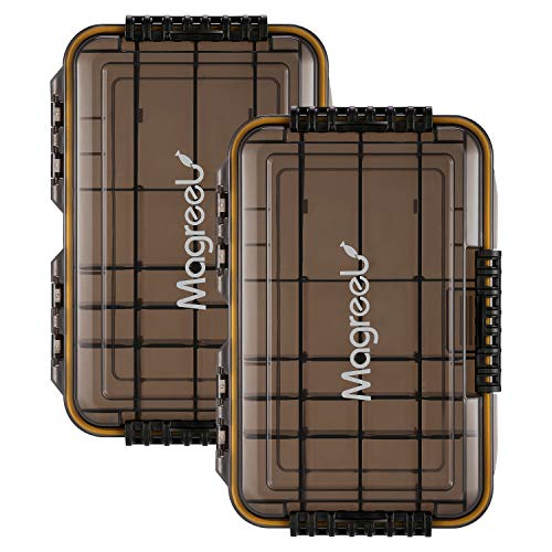 Magreel Waterproof Fishing Tackle Box, 3600/3700 Tackle Trays Tea-Colored Transparent Fishing Tackle Storage Organizer Boxes with DIY Dividers, 1 Pack/2 Pack