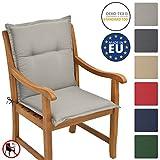 Beautissu Garden Chair Cushion Loft NL 100 x 50 x 6 cm Seatpad and Backrest with Soft Foamcore Padding Light Grey