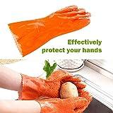 Sttech1 Potato Peelers Gloves, Magic Quick Fruit Vegetable Potato Processing Tools Scrubbing Gloves Rubber Peelers Gloves Kitchen Gadget (Orange)