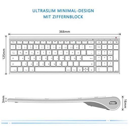 Jelly Comb Juego de ratón y teclado inalámbrico recargable QWERTZ ultra delgado de 2.4Ghz para PC, computadora de… 5