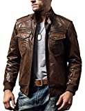 FLAVOR Men Biker retro Brown Leather Motorcycle Jacket Genuine Leather jacket (Medium(US standard), Brown)