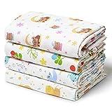 Niimo Muselina Bebe Algodon 120x120 cm 4 Piezas en 100% Algodón Suave Manta Abrigo Multifuncional Cuadrados para Niños Nacido Toalla de Bebé (Multicolor)