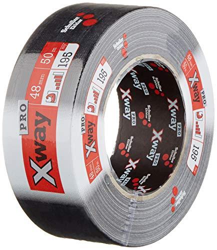 X-Way Profi Gewebeband, wiederablösbar, UV-Beständig und wetterfestes Reparaturband/Panzertape/Duct Tape, in Schwarz zum Abdichten, Isolieren und Befestigen, 48 mm x 50 m - 45768