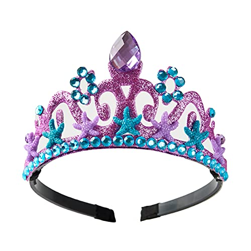Mermaid Crown Mermaid Party Decorations Under the Sea Party Supplies Girl Birthday Gift Princess Dress Up Tiara Halloween Costume Accessories Purple