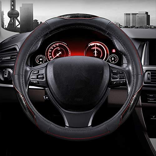 WY-CAR Cubierta del Volante del Coche, Protector del Volante de Piel Genuina, Antideslizante Transpirable Durable Cubierta del Volante, Universal Diámetro 38cm (15'),Negro