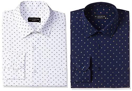 Diverse Men's Printed Regular Fit Full Sleeve Cotton Formal Shirt (DVF01F2L01-236-42_White/Blue_42) and Men's Printed Regular Fit Full Sleeve Cotton Formal Shirt (DVF01F2L01-263-42_Navy_42)