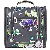 PAVILIA Hanging Travel Toiletry Bag Women Men | Bathroom Toiletry Organizer Kit for Cosmetics Makeup | Dopp Kit Hygiene Bag for Shaving Shower (Floral Grey)