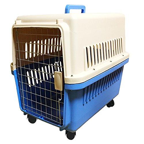 ペットキャリーケース LLサイズ 青 中型犬・大型犬用 ハードタイプ キャスター付き 81×61×56cm