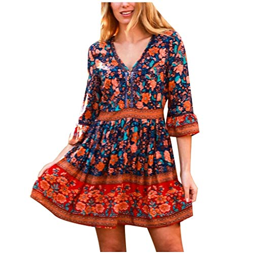 Janly Clearance Sale Vestido de mujer con cuello en V y manga floral, mini vestido para mujer, vestido de manga 3/4, vestido casual, vestido de mujer (azul marino/S)