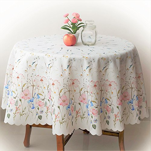 """Finest Turkish Floral Coloring Rectangle Summer Tablecloth Non-Iron Stain Resistant- Table Cover Kitchen Dining Room Spring Dinner Easter Wedding Decorations Round 60"""""""