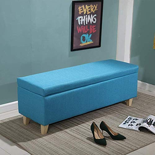 QSHG Banco Otomana de Almacenamiento Pecho Lino Taburete tapizado del Asiento Reposapiés lecho Manta Caja de la Plataforma Fin Pasillo Mueble de casa, MAX 300 kg (Color : Blue, Size : 40cm/15.7in)