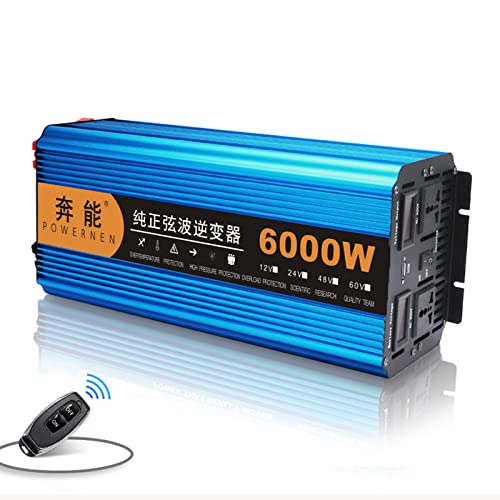 Inversor de Corriente 3000W/4500W/6000W/8000W/12000W Inversor de Onda sinusoidal Pura 12V / 24V a 220V Convertidor de Voltaje, inversores solares con Salidas Dobles para Acampar al Aire l ,24V-6000W