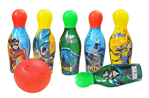 Zitto Batman Bowling Set Plastic 6 Pins 1 Balls Educational Mini Bowling Toy for Kids