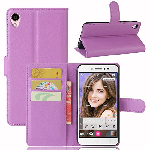 Ycloud Tasche für Asus Zenfone 3 Go ZB501KL/Zenfone Live ZB501KL Hülle PU Kunstleder Ledertasche Flip Cover Wallet Hülle Handyhülle mit Stand Function Credit Card Slots Bookstyle Purse Design lila