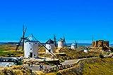 GLITZFAS Wall Art Poster(La Mancha Spain Windmills) Art Print On Canvas Rolled Wall Poster Print - 36'x24' (90cmx60cm) - Unframed