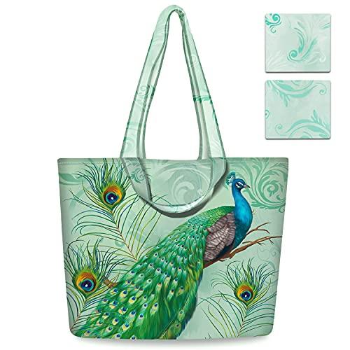 NymphFable 2 Pezzi Tote Bag Riutilizzabili Pavone Pieghevole Sacchetti Spesa Grande Borsa Spesa Shopping Bag
