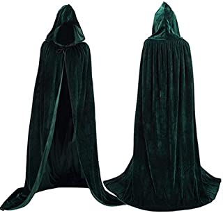 Unisex Hooded Cape Long Velvet Cloak with Hood Halloween Christmas Cosplay Costumes 43-71inches