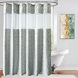 UFRIDAY Ufriiday Stoff-Duschvorhänge mit floralem Muster, silbergrauer Badezimmer-Vorhang mit Damast-Dekor, strapazierfähig & wasserdicht, Netzfenster-Design, beschwerter Saum unten 72Wx78L