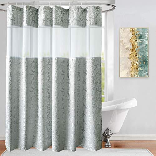 Ufriiday Stoff-Duschvorhänge mit floralem Muster, silbergrauer Badezimmer-Vorhang mit Damast-Dekor, strapazierfähig & wasserdicht, Netzfenster-Design, beschwerter Saum unten 72Wx75L Silbergrau