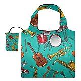 XiangHeFu Totes de regalo reutilizables para comestibles Bolsas de compras Gran capacidad plegable, colorido patrón de instrumentos musicales Guitarras acústicas clásicas