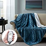 Hyde Lane Sherpa Electric Throw Blanket | Premium Teal 60x70...