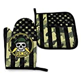 HZWMKJ United States Marine Corp US-MC Skull Heat Resistant Oven Mitts and Pot Holders Sets Cooking Gloves Baking Gloves for BBQ Cooking Baking Grilling