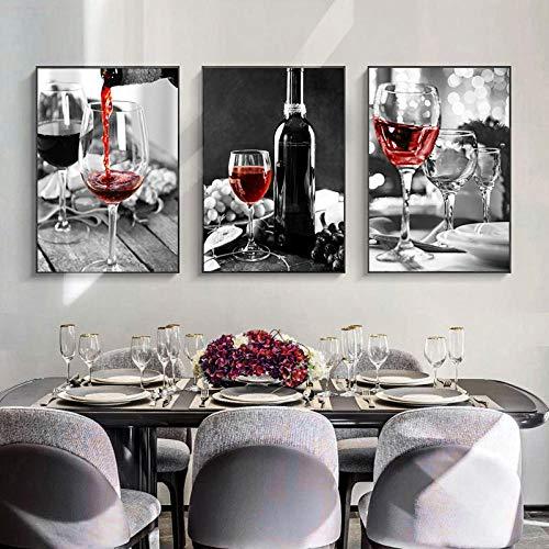 XLKDP Poster di Vino Rosso e Bottiglia Nero Bianco Bevanda Cibo Stampa su Tela Wall Art Pittura Immagine Cucina Ristorante-50x70cmx3 Pezzi Senza Cornice