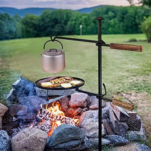 Lagerfeuer Schwenkgrill,360° Verstellbarer Grillrost mit Erdspieß Kurbel,Grillgalgen Rost für Feuerschale Camping Picknick Outdoor BBQ