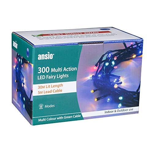 ANSIO Cadena Luces de Navidad 100 LED Multicolor Interior/Exterior Luces de...