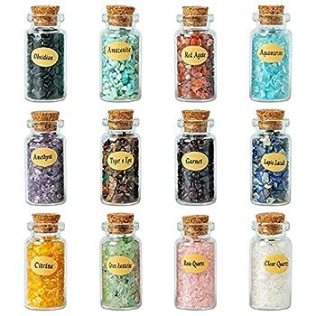 KHOCOEE 12 Different Gemstone Bottles Chip Crystal Healing Tumbled Gem Reiki Wicca Stones Set Chakra Healing Crystals Witchcraft Crystals