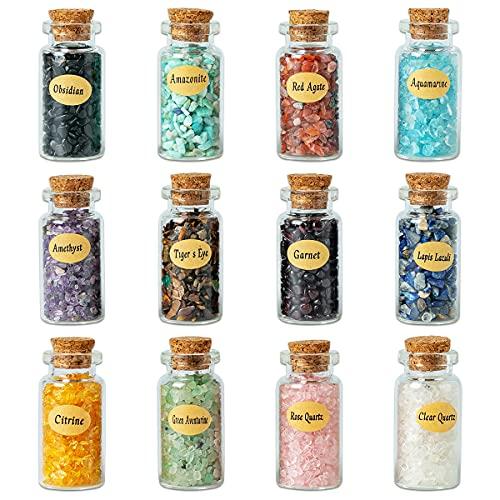 KHOCOEE 12 verschiedene Edelstein-Flaschen, Splitter-Kristall, Heilung, Trommelstein, Reiki, Wicca-Steine, Chakra-Heilkristalle, Hexenkristalle