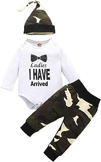 "Shiningbaby Neugeborene Jungen Outfits Kleidung Set Baby Tarnkleidung Mama""s Boy Langarm Strampler und Hose mit Hut 0-24 Monate"