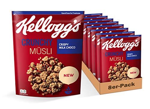 Kellogg's Kellogg's Crunchy Müsli Crispy Milk Choco | Knuspermüsli mit Schoko-Milch-Geschmack | 8er Vorratspack | 8 x 400g,
