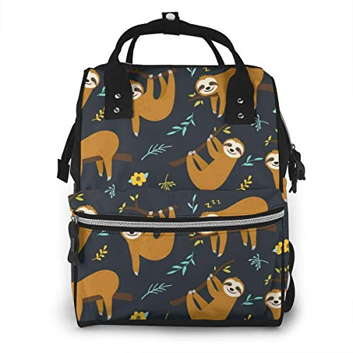 UUwant Sac à Dos à Couches pour Maman Cute Cartoon Sloth Seamless Pattern Graphic Design Diaper Bags Large Capacity Diaper Backpack Travel Nappy Bags Mummy Backpackling
