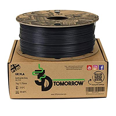 3DTomorrow UK PLA Filament - Anthracite Grey - 1.75mm, 1kg, 100% Recyclable Cardboard Spool Eco Friendly 3D Printer Filament, Made in the UK
