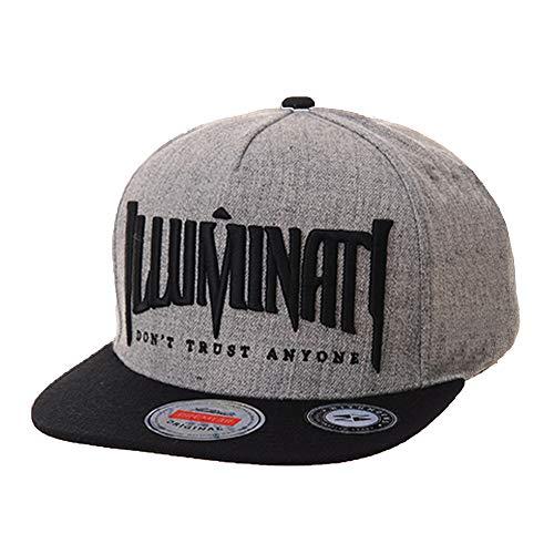 WITHMOONS Baseballmütze Mützen Caps Kappe Snapback Hat Illuminati Embroidery Hip Hop Baseball Cap AL2389 (Grey)