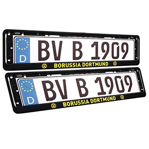 Borussia Dortmund Kennzeichenrahmen 2er Set Nummernschildträger, Kennzeichenhalter BVB 09