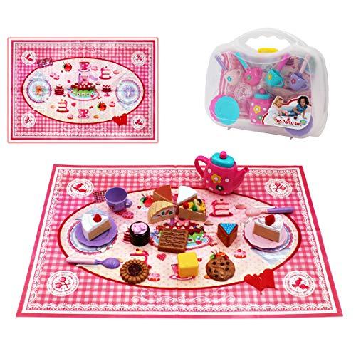 deAO 26 Teiliges Spielzeug Tee-Set und Desertartikeln mit Picknickdecke und Einer Tragetasche für eine tolle Tee-Party