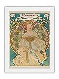 F. Champenois – Impresor-editor – París, Francia – Póster de arte nuevo de Alphonse Mucha c.1898 – Prime Unryu papel de arroz, impresión artística 43 x 56 cm