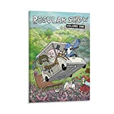 Póster regular de anime de Mordecai y sus amigos en un coche volando en un coche, cuadro moderno, oficina, dormitorio, decoración, póster de pintura, póster para decoración de pared