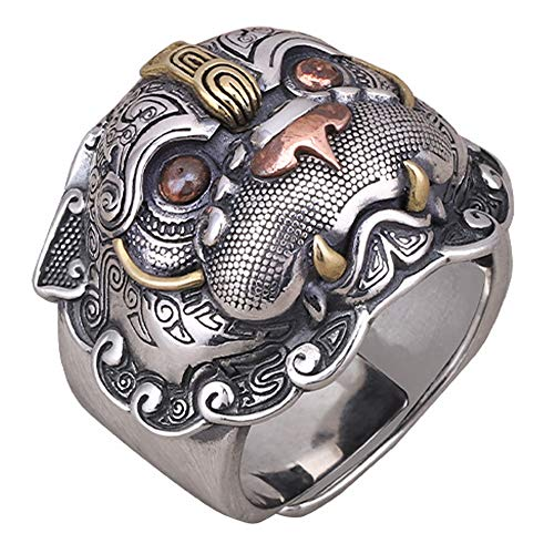 FORFOX Three Tone 925 Sterling Silver Chinese Mythical Animal PIXIU Ring for Men Women Adjustable Size N 1/2-T 1/2