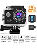 4K Sports Action Camera WiFi with Remote 98In Waterproof Case 2' LCD HD 1080P Video Extreme Underwater Sport Cam Helmet Digital Camcorder for Biking Diving Motorcycle with Mount Accessories