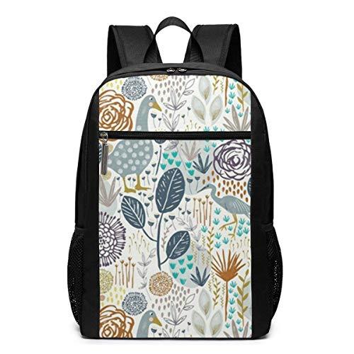 ZYWL Birds and Blooms Design Rucksack, Business Durable Laptop Rucksack, Wasserbeständige College School Computer Tasche Geschenke für Männer Frauen, 17in x 12in x 6in, schwarz