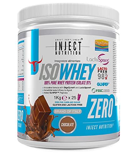 ISO WHEY ZERO (1kg) INJECT NUTRITION - Integratore alimentare a base di proteine isolate del siero del latte con aminoacidi, enzimi digestivi e probiotici. SENZA GLUTINE E LATTOSIO. (Cioccolato)