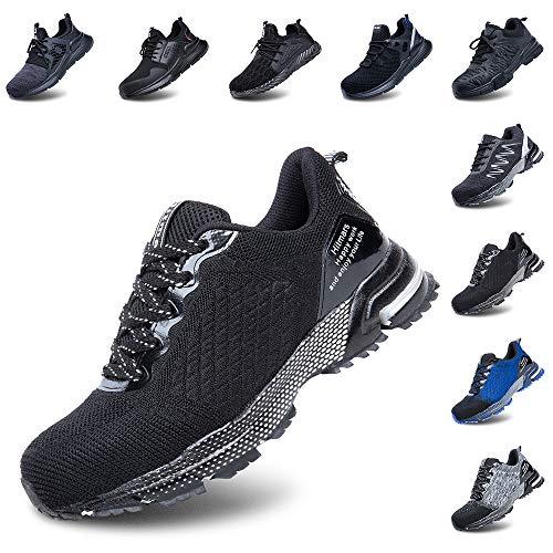 Zapatos de Seguridad Hombre Trabajo Comodos Mujer con Punta de Acero Ligeros Calzado de Industrial y Deportivos Transpirable Negro 41 EU 🔥