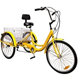 Artudatech 6-Speed 24' Adult 3-Wheel Tricycle Trike Cruise Bike Bicycle with Basket Yellow