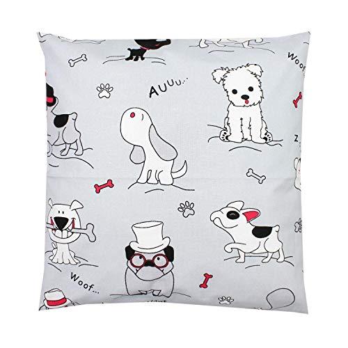 TupTam Funda para Cojin con Diseño Decorativo para Niños, Perros Gris/Rojo, 50 x 50 cm